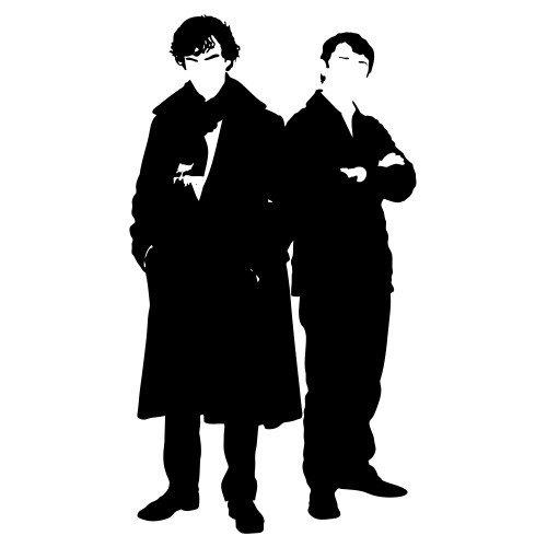Iphone 5 / 5S Schutzhülle Sherlock and Watson - weisser Rahmen
