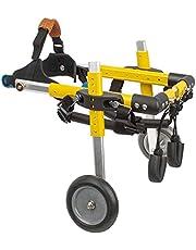 Dog Wheelchair for Back Legs, Aluminium 2 Wheel Pet Wheelchair Adjustable Pet Rehabilitation Cart for Cat and Doggie (Yellow, S)