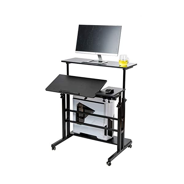 SIDUCAL Mobile Stand Up Desk, Adjustable Laptop Desk with Wheels Storage Desk Home Office Workstation, Rolling Table… 6