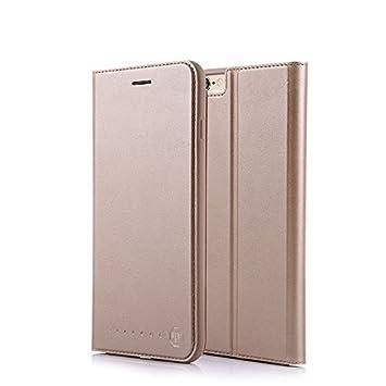 3cb13c138d1 Nouske Funda tipo cartera para iPhone 6 Plus y 6S Plus de 5.5 pulgadas de  Apple, dorada: Amazon.es: Electrónica
