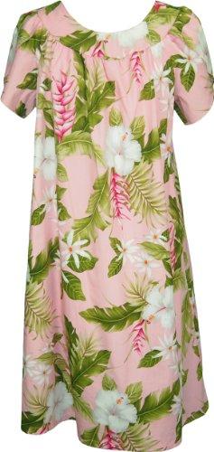 RJC Womens Pikake Jasmine Heliconia Tea Length Muumuu Dress Coral L