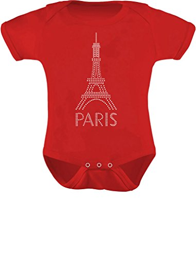 Infant French Patriot Gift Eiffel Tower Paris Bastille Day Baby Bodysuit 12M (6-12M) Red