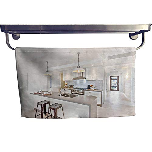 Leigh home Quick-Dry Towels,Kitchen Interior at Day time a Way to go to Outside Door Tile ,Microfiber Towel W 35.5