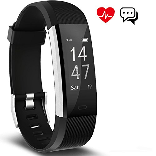 Fitness Tracker Aneken Smart Bracelet with Heart Rate Monitor Activity Health Tracker Fitness Wristband Bluetooth Pedometer with Sleep Monitor Smart Watch for iPhone and Android Smart Phones Black