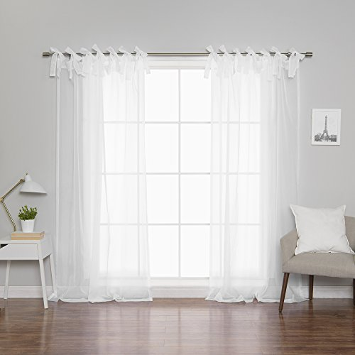 Best Home Fashion Sheer Voile Curtains - Tie Top - White - 56