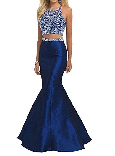 Lava-ring Women's Two Piece Mermaid Prom Dress Crystal Beaded Halter Neck Long Dress US6 (Mermaid Piece Dress Two)