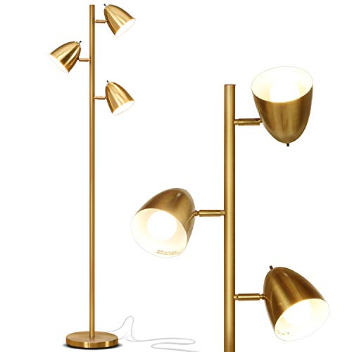 Brightech Jacob - LED Reading and Floor Lamp for Living Rooms & Bedrooms - Classy, Mid Century Modern Adjustable 3 Light Tree - Standing Tall Pole Lamp with 3 LED Bulbs - Antique Brass/Gold - Gold Torchiere Lamp
