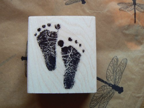 [Large Baby feet rubber stamp WM P3] (Baby Feet Stamp)