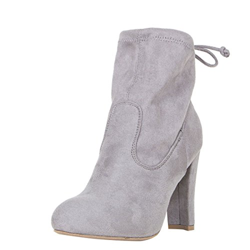 Wild Diva Womens Almond Toe Drawstring Tie Lace Up Chunky Thick High Heel Pull On Ankle Boot Booties 8 Gray (Bootie Tie)