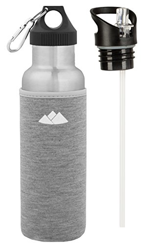 (Wealers Stainless Steel Thermos Sport Bottle | 20oz Vacuum Insulated Double Wall Thermal Tumbler with 2 Interchangeable Caps | 20 Ounce Water Bottle Includes a Neoprene Holder (Grey))