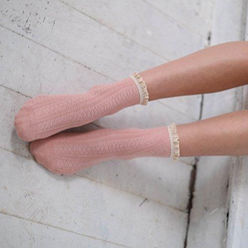 Adam o bordados Dark pares de 3 mujeres Unicolored encaje de 1 disponibles Calcetines Eesa para tobillo Pink W0TvffC