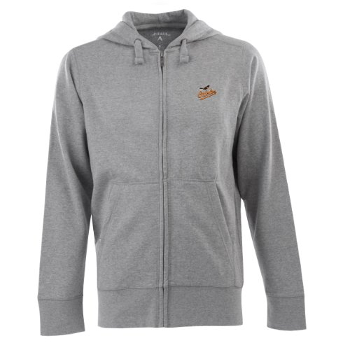 Antigua MLB Men's Baltimore Orioles Full Zip Signature Hood (Greyheather, (Antigua Cotton Sweatshirt)