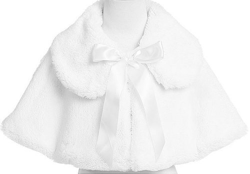 White Girl's Soft Faux Fur Cape with Satin Tie - Size 8