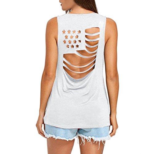 Duseedik Vest, Womens National Flag Casual Plus Size Blouse Hollow Out Vest Patchwork Tank Top e Casual Plus Size Beach Vest T-Shirt (White, L) - Cotton Microfiber T-shirt