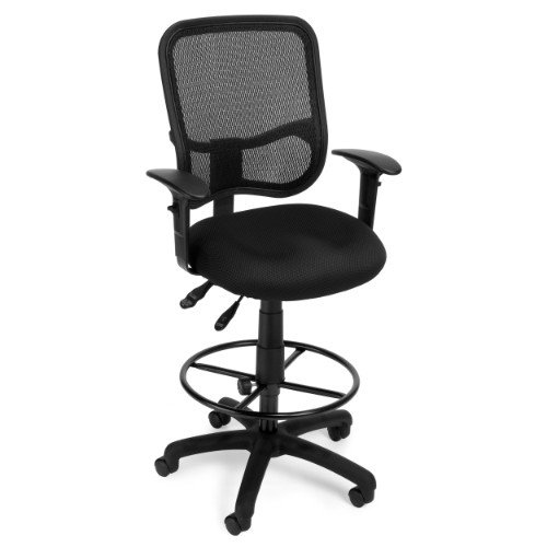 OFM Comfort Series Ergonomic Mesh Swivel Task Chair with Arms and Drafting Kit, Mid Back, in Black ()