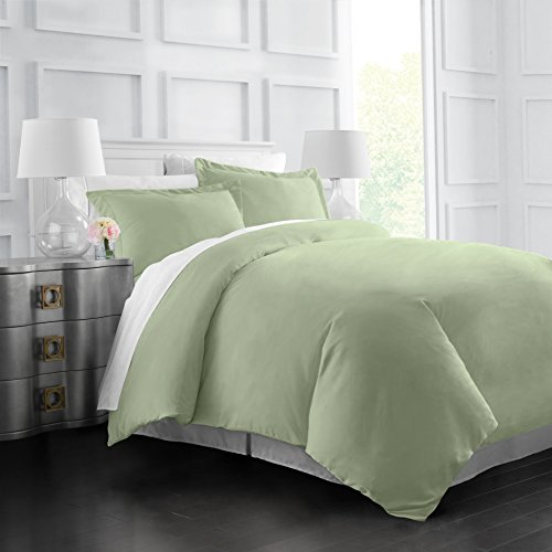 (Egyptian Luxury Soft Brushed 1500 Series Microfiber Duvet Cover Set - Hotel Quality & Hypoallergenic with Zippered Closure & Matching Shams - Full/Queen - Sage)