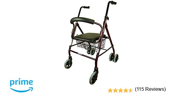 Andador para adultos, Aluminio, Plegable, Asiento y respaldo, 4 ruedas, Cesta, Prado, Mobiclinic