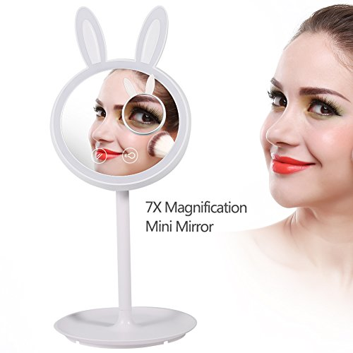 Bunny Mirror - Yosoo Lighted Makeup Mirror, 2 in 1 Bunny Shaped Makeup Vanity Mirror Double-Sided Adjustable Table LED Lamp Makeup Mirror with 7X Magnifying Glass for Travel Vanity Mirror Bedroom Lamp Easter Gift