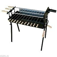 Spießgrill schwarz XL Skewer Grill Grill-Set Balkon Garten ✔ eckig ✔ stehend grillen ✔ Grillen mit Holzkohle