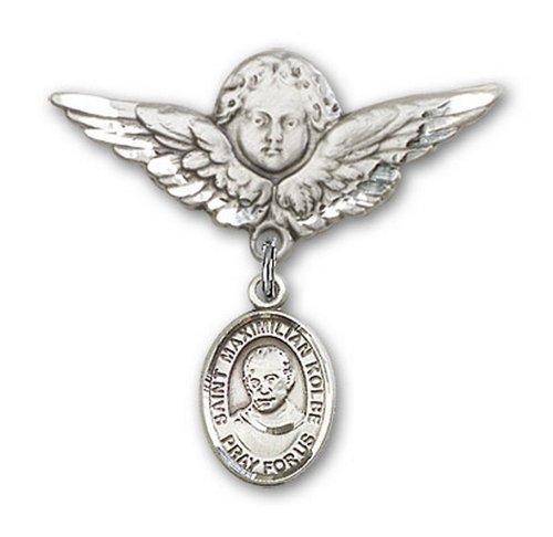 Icecarats Créatrice De Bijoux En Argent Sterling St. Kolbe Charme Ange Pin Badge Maximilien 1 1/8 X 1 1/8