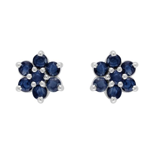 Sterling Silver 1.55ct Natural Blue Sapphire Classic Cluster Stud ()