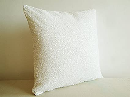 ShinyBeauty Sofa Pillow Covers 24x24 Inch,Transparent White Decorative  Pillow Cover,Throw Pillow