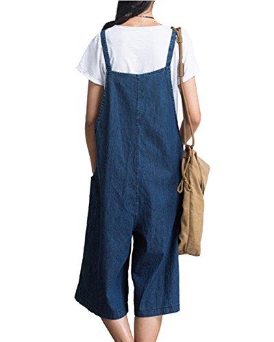 Larghi Ragazza Shifan Salopette Donna Casual Pantaloni Jeans Denim Blu Jumpsuit Tuta Elegante qwt0tTa