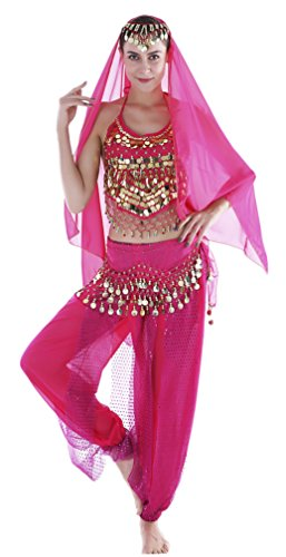 Seawhisper Adult Genie Costume Belly Dancer Costumes for Women Hot Pink -
