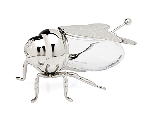 Beautiful Silver Plated Bee Honey Jar with little paddle, Novelty Bee Honey ()