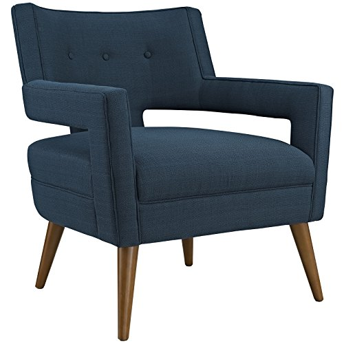 Modway Sheer Upholstered Fabric Mid-Century Modern Accent Lounge Arm Chair in Azure