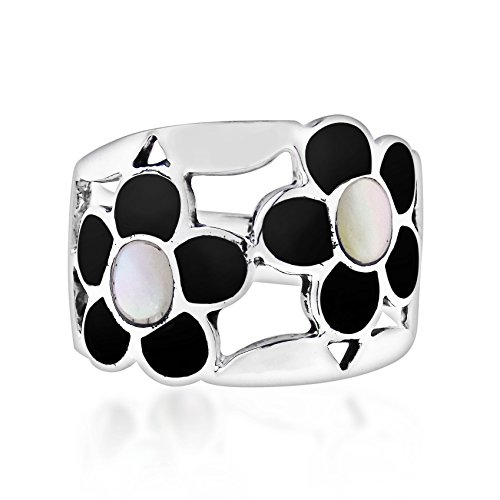 AeraVida Wide Flower Inlay Reconstructed Black Onyx-White Mother of Pearl .925 Sterling Silver Ring - Ring Pearl Black White &