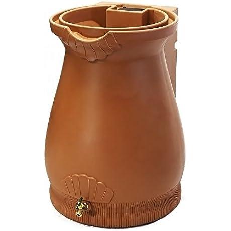 Good Ideas RWURN Rain Wizard Rain Barrel Urn 65 Gallon Terra Cotta