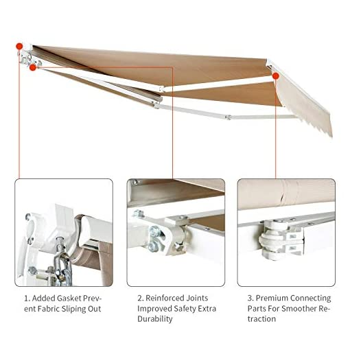 Garden and Outdoor Aclumsy 8.2'x6.5′ Patio Awning Retractable Sun Shade Cover w/UV- & Water-Resistant Fabric, Aluminum Frame, Crank Handle… patio awnings