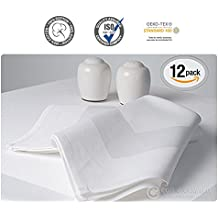 """Luxury Angel White Satin Band Napkins - (20""""x20"""") 100% Cotton Dinner Napkins - Soft, Durable Hotel Quality - Ideal for Grand Events & Regular Home Use - 'Royal Collection' (White, 12 Pack)"""