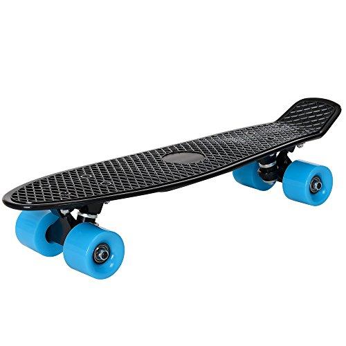 [pro.tec] Skateboard Mini Cruiser Board in Schwarz-Blau für Kinder ab 5 und 6 Jahre / Retro Design (57 x 15 x 12cm) - Pennyboard für Kids und Anfänger mit ABEC 7 Kugellager