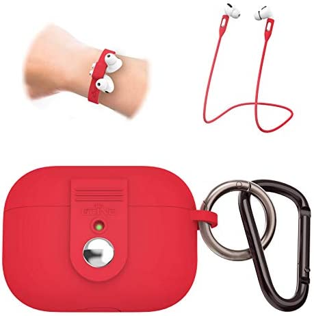 OCING 5 in One New Airpods Pro Case Be Safer (Upgraded in Aug. 2020),Silicone Protective Case with Neck Strap and Sport Bracelet for Girl Men, Supports Wireless Charging [Front LED Visible] (Red)