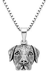 "Oxidized Sterling Silver 3D Dog Head Pendant w/20"" Box Chain"