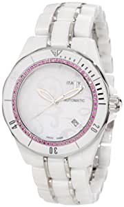 Lucien Piccard Women's 27117WHPKPAS Celano Mid Size Automatic Pink Sapphire Accented White Paisley Mother-Of-Pearl Dial White Ceramic Watch