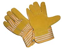 G & F 2302 Premium Leather Palm Gloves, Heavy Duty Fabric