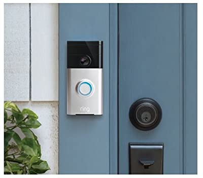 Ring Video Doorbell Two-Way Audio, HD Surveillance & Ring Chime, Satin Nickel