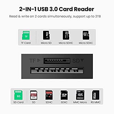 UGREEN Lector Tarjetas SD, USB 3.0 Lector Tarjetas Leer Simultánea SD, Micro SD, TF, SDXC, SDHC, MMC, RS-MMC, Micro SDXC, Micro SDHC Super Rapída 5 ...