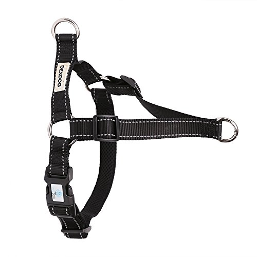 DEXDOG EZTrainer No Pull Front Attachment Clip Dog Harness for Training Running Comfort (Small, Black)