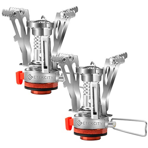 Etekcity Ultralight Portable Outdoor Backpacking Camping Stove with Piezo Ignition (2pack), Survival Kit for Emergency, Hurricane, Earthquake (Backpack Stove Cooking)