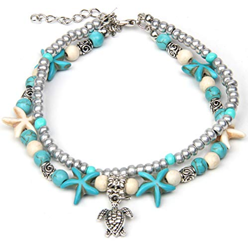 CrazyPiercing Boho Anklet Bracelet, Blue Starfish Ankle Multilayer Beach Foot Chain with Turtle Charm Anklet for Women and Girls