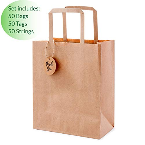 OSpecks Brown Kraft Paper Shopping Bags Bulk with Handles and Thank You Tags for Retail Business, Merchandise, Goodies, Appreciation Gifts, Trade ...