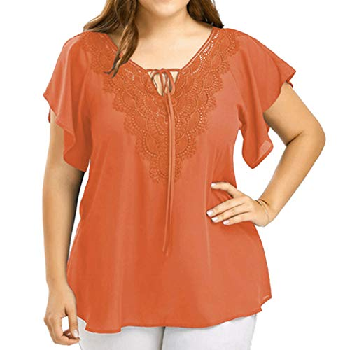 (Women's Short Sleeve High Low Loose T Shirt Basic Tee Tops with Side Split Orange)
