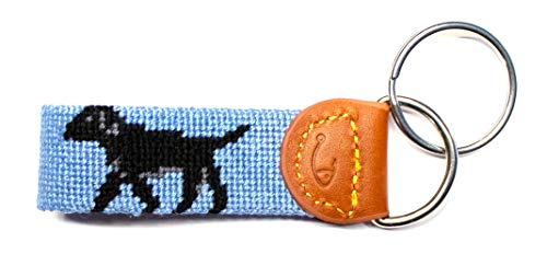 Hand-Stitched Needlepoint Key Fob or Key Chain by Huck Venture (Black Lab)