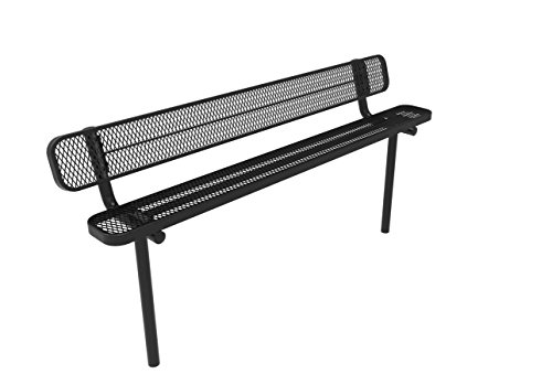 Coated Outdoor Furniture B8WBI-BLK Park Bench Back, 8 Feet, Black (Expanded Bench Steel 8')