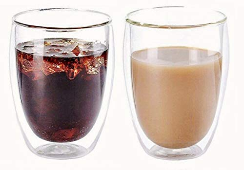 DOUBLE WALL GLASS CUP 350ML, Handmade, set of 2, 11.8OZ, Hot & Cold drinks By Urbino USA