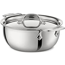 All-Clad 421349 Stainless Steel Tri-Ply Bonded Dishwasher Safe Cassoulet with Lid/Cookware, 3-Quart, Silver